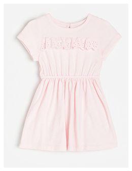 Reserved - Sukienka z haftem angielskim - Różowy