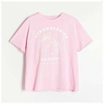 Reserved - Bawełniany t-shirt z efektem sprania - Różowy