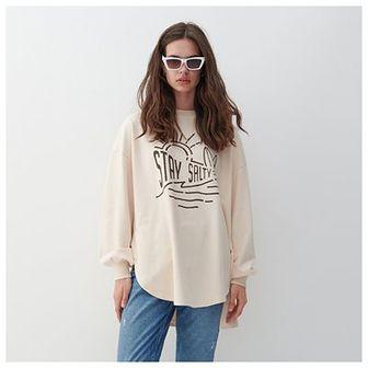 Reserved - Bluza oversize z bawełny organicznej - Kremowy