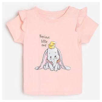 Reserved - Bawełniany t-shirt z falbanami Dumbo - Różowy