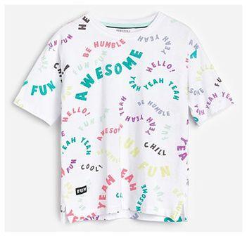 Reserved - T-shirt z napisami - Biały