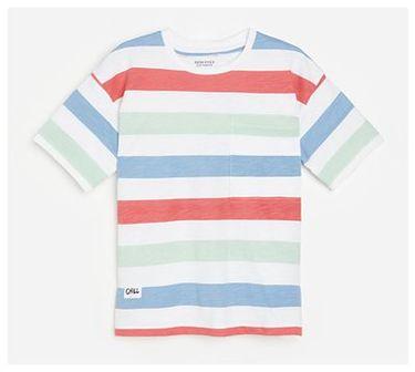 Reserved - Bawełniana koszulka w paski - Biały