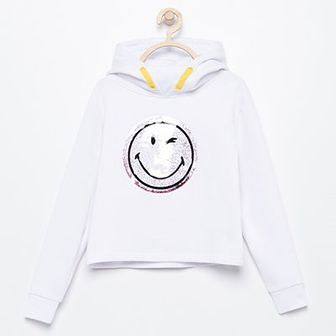 Reserved - Bluza z kapturem Smiley - Biały