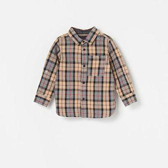 Reserved - Bawełniana koszula w kratę - Beżowy