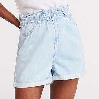 Reserved - Jeansowe szorty z wysokim stanem - Niebieski