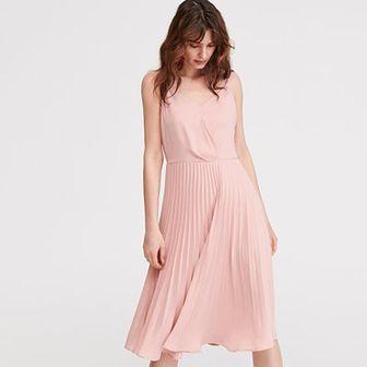 Reserved - Sukienka z plisowanym dołem - Różowy