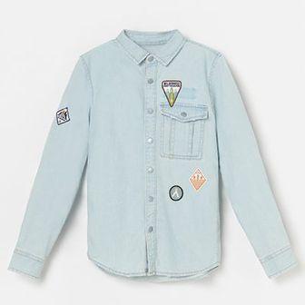 Reserved - Bawełniana koszula z naszywkami - Niebieski