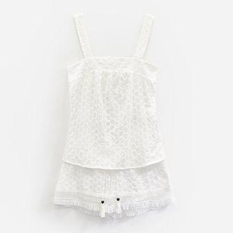 Reserved - Bawełniana piżama z szortami - Kremowy