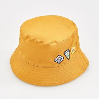 Reserved - Kapelusz z naszywkami - Żółty