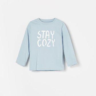Reserved - Bawełniana koszulka z napisem - Niebieski