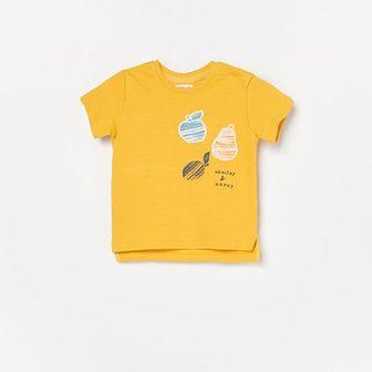 Reserved - T-shirt z aplikacją - Żółty