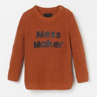 Reserved - Sweter z napisem - Brązowy