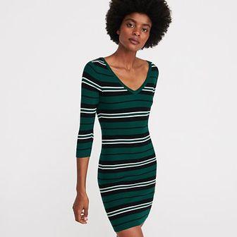 Reserved - Sukienka z prążkowanej dzianiny - Khaki