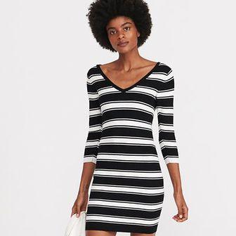 Reserved - Sukienka z prążkowanej dzianiny - Czarny