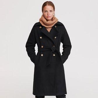 Reserved - Dwurzędowy płaszcz z wełną - Czarny
