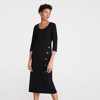 Reserved - Sukienka z prazkowanej dzianiny - Czarny