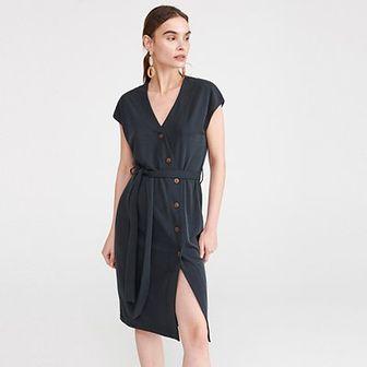 Reserved - Gładka sukienka z modalem - Szary