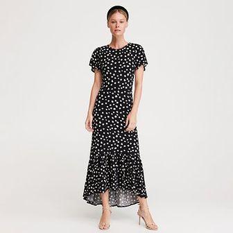 Reserved - Sukienka w stokrotki - Czarny
