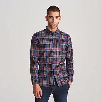 Reserved - Koszula regular fit w kratę - Szary