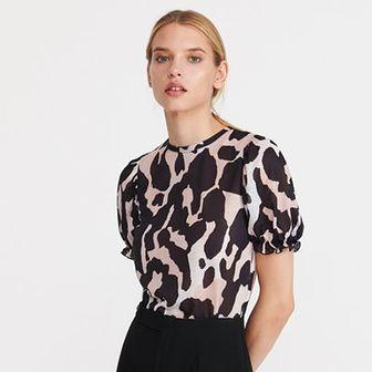Reserved - Bluzka z motywem zwierzęcym - Brązowy