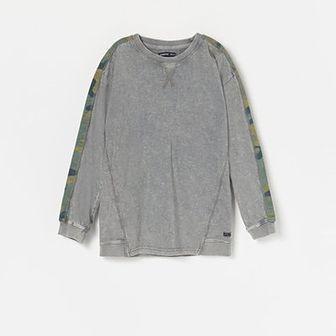 Reserved - Bawełniana koszulka z lampasami - Szary