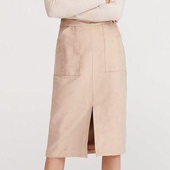 Reserved - Spódnica z imitacji zamszu - Beżowy