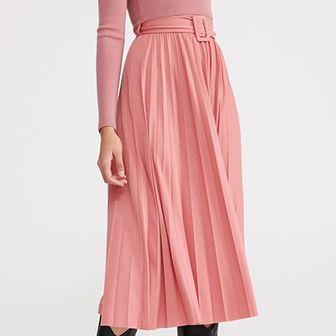 Reserved - Plisowana spódnica z paskiem - Różowy