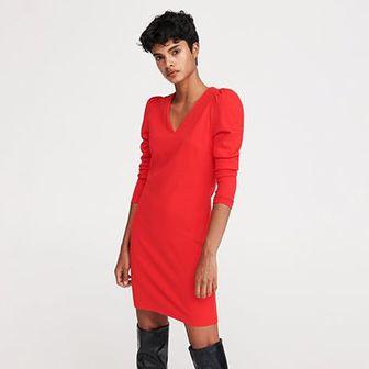 Reserved - Sukienka z bufiastymi ramionami - Czerwony