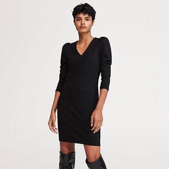 Reserved - Sukienka z bufiastymi ramionami - Czarny