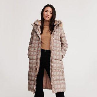 Reserved - Ocieplany płaszcz w kratę - Wielobarwny