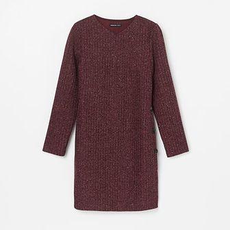 Reserved - Dzianinowa sukienka z mieniącym się brokatem - Fioletowy
