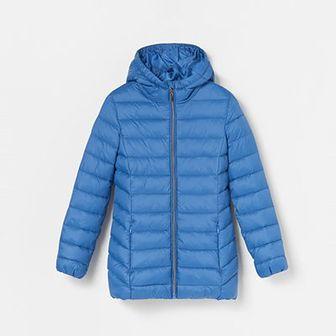 Reserved - Ciepła pikowana kurtka z kapturem - Niebieski