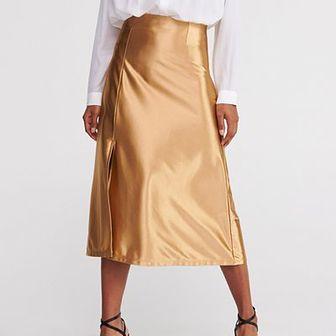 Reserved - Spódnica w kształcie litery A - Złoty