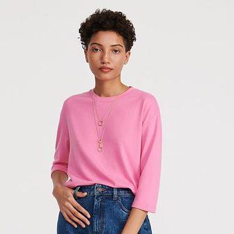 Reserved - Gładka bluzka basic - Różowy