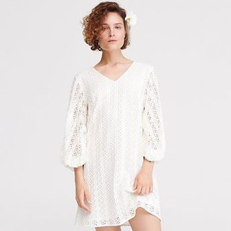 Reserved - Koronkowa sukienka - Kremowy
