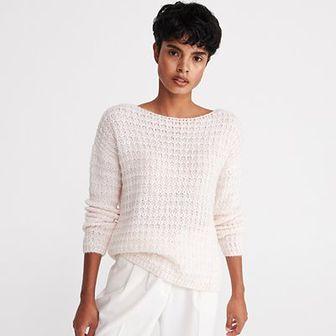 Reserved - Sweter z dekoltem w łódkę - Kremowy