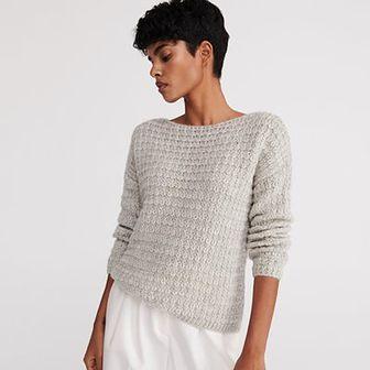 Reserved - Sweter z dekoltem w łódkę - Jasny szary