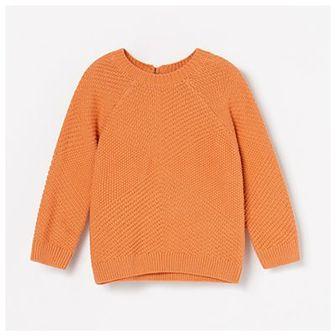 Reserved - Sweter ze strukturalnej dzianiny - Pomarańczowy