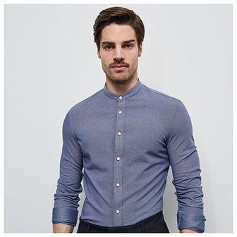Reserved - Dzianinowa koszula ze stójką - Niebieski