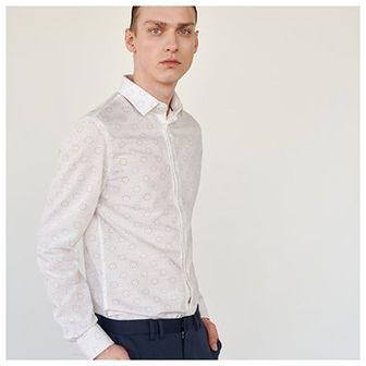 Reserved - Koszula z bawełny i wiskozy - Biały
