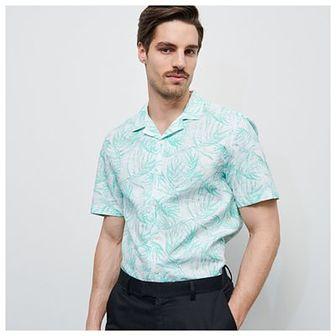 Reserved - Wzorzysta koszula z bawełny organicznej - Turkusowy