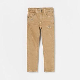 Reserved - Jeansowe spodnie z przetarciami regular fit - Beżowy
