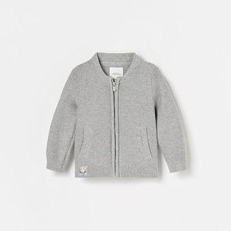 Reserved - Dzianinowy sweter na suwak - Jasny szary