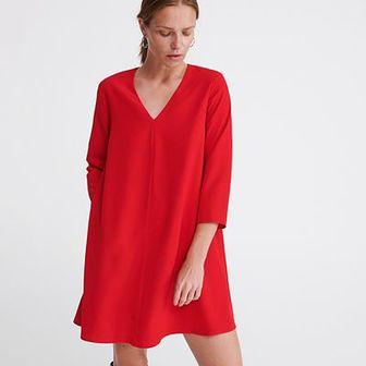 Reserved - Gładka sukienka - Czerwony