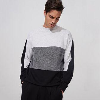 Reserved - Bluza z łączonych materiałów - Czarny
