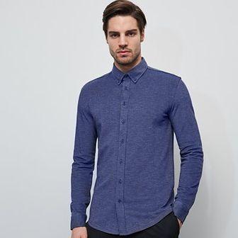 Reserved - Dzianinowa koszula slim fit - Granatowy