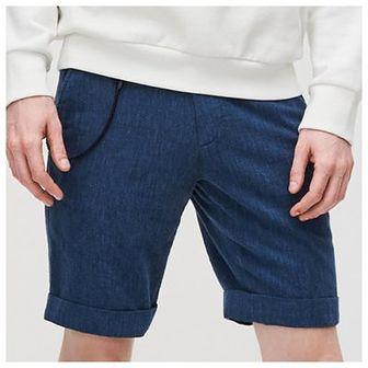 Reserved - Szorty z bawełny i lnu - Niebieski