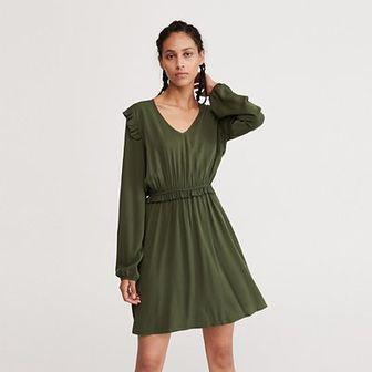 Reserved - Sukienka mini z długim rękawem - Khaki