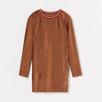 Reserved - Plisowana sukienka z weluru - Pomarańczowy