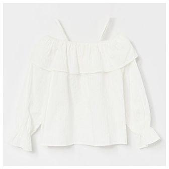 Reserved - Bawełniana bluzka hiszpanka - Kremowy